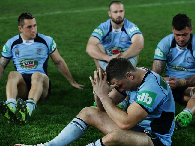 A dejected Blues Robbie Farah after NSW loss during Origin Game 3 NSW Blues vs QLD Maroons at ANZ Stadium, Homebush.