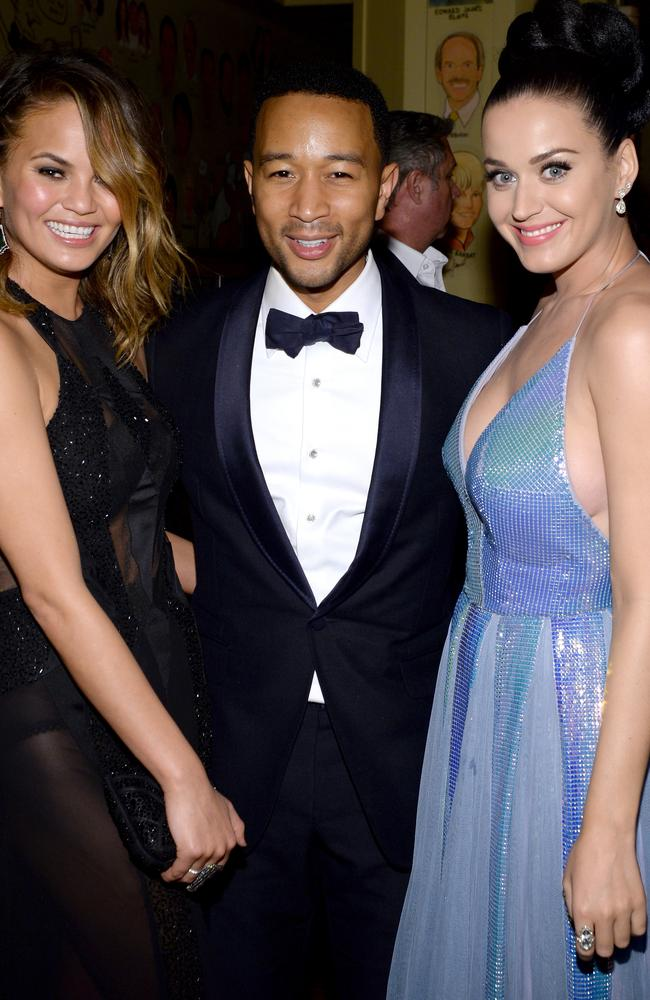 Grammy's... Model Christine Teigen and recording artists John Legend and Katy Perry attend the Sony Music Entertainment Post-Grammy Reception in January. Picture: Getty