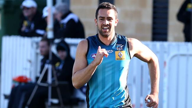 Port Adelaide key defender Alipate Carlile at training on Thursday. Picture: Sarah Reed.