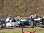 This handout picture released on the Twitter account of Quentin Liou on September 7, 2017 shows damaged cars at Gustaf III Airport in Gustavia, on the French administered territory of Saint Barthelemy, after the passage of Hurricane Irma. Picture: Quentin LIOU /