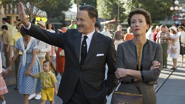 """Tom Hanks as Walt Disney, left, and Emma Thompson as author P.L. Travers in a scene from """"Saving Mr. Banks."""""""