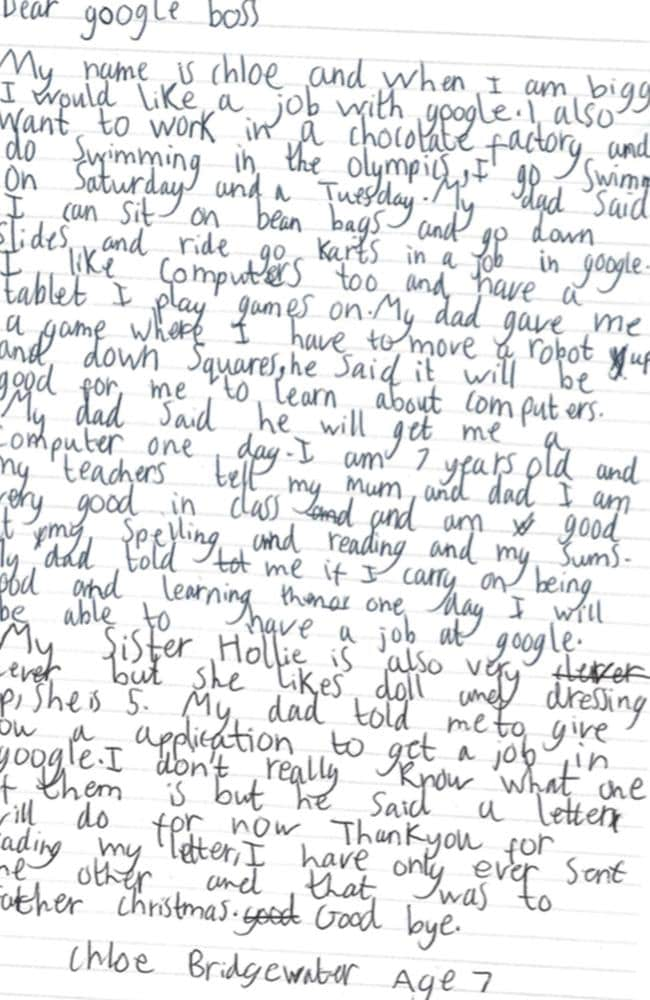 7 year old Chloe Bridgewater wrote a letter to Google and got a response from their CEP. Picture: Supplied