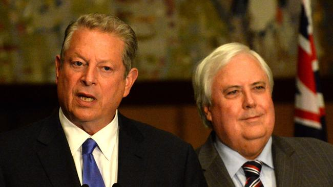 Axing the carbon tax ... Palmer United Party leader Clive Palmer and former US Vice President Al Gore at Parliament House in Canberra. Picture: Alan Porritt