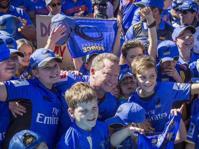 Andrew Forrest in the crowd during a rally in support of the Western Force. Picture: AAP