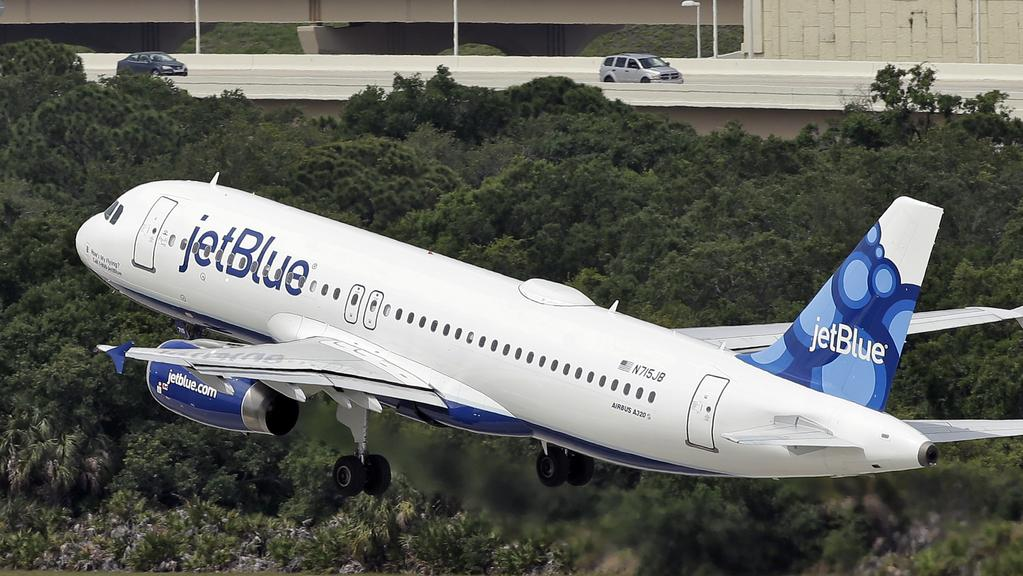 JetBlue Airways plane was forced in to an emergency landing in Buffalo, New York. Picture: Chris O'Meara/AP