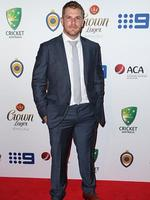 Aaron Finch on the red carpet arriving at the 2014 Allan Border Medal held at Doltone House at Hyde Park. Picture: Richard Dobson