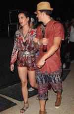Katy Perry and Orlando Bloom were inseparable this past weekend at the annual desert festival. The two were spotted in complimenting outfits while walking to see the next act. Picture: BackGrid