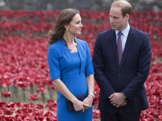 Great expectations ... Catherine, Duchess of Cambridge and Prince William, Duke of Cambridge during one of her last public appearances before needing time off due to acute morning sickness. Picture: Oli Scarff
