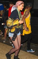 Kylie Jenner and boyfriend Tyga were seen at Coachella. Jenner was rocking an urban outfit and had her cotton candy colored hair in boxer braids. Picture: BackGrid