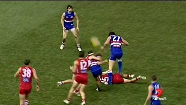 Will Minson has been cited for stomping on Kieran Jack. Picture: Channel 7