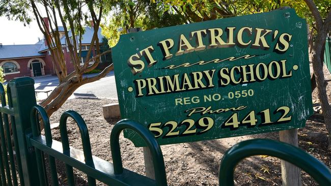 Hugging was banned at St Patricks Primary School (above) in Geelong in April. Picture: Nigel Hallett