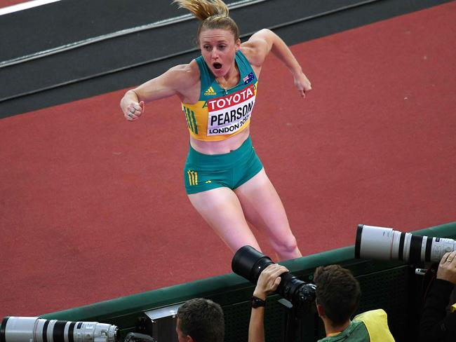 Sally Pearson is a little overjoyed about her win.
