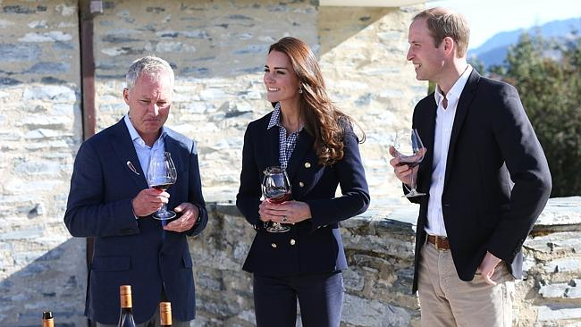 Small sips ... Prince William and Catherine, the Duchess of Cambridge sample some wine at the Amisfield winery.