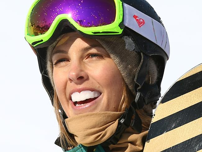 Torah Bright looks on after the Ladies' Snowboard Cross Quarterfinals.