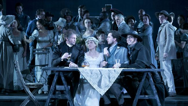 Teddy Tahu Rhodes as Don Giovanni, Taryn Fiebig as Zerlina, Richard Anderson as Masetto, Shane Lowrencev as Leporello and the Opera Australia Chorus. Picture: Lisa Tomasetti.