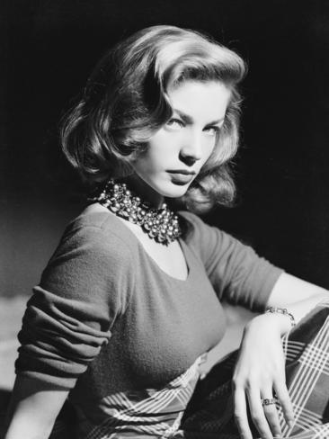 American screen star Lauren Bacall wearing an ornate beaded necklacecirca 1945. Picture: Getty