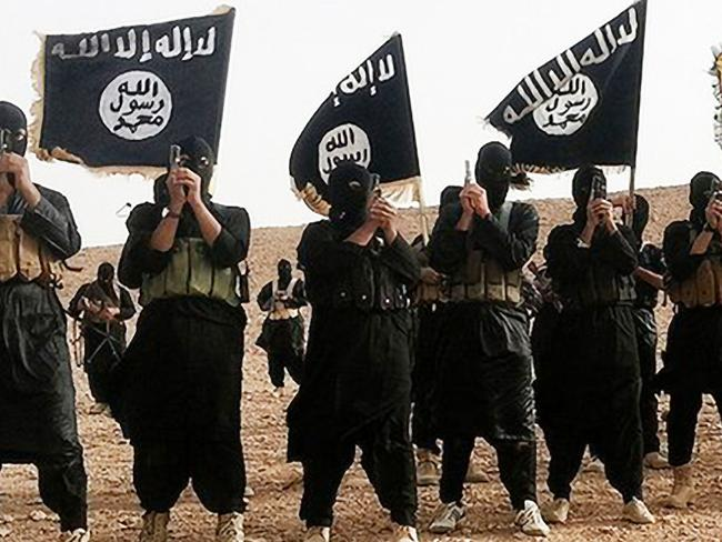 Death cult ... Islamic State fighters wave the IS flag. Supplied