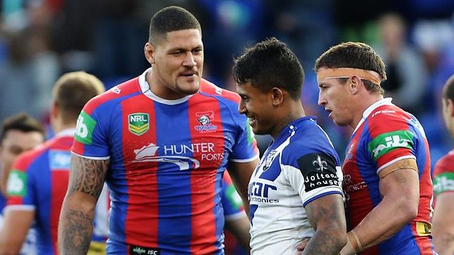 """Newcatsle's Willie Mason with Bulldogs Ben Barba win for their lopsided """"confrontation"""""""