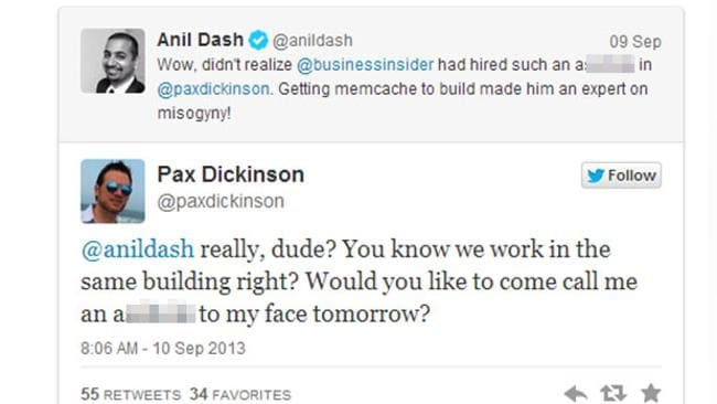 One of the tweets that got Pax Dickinson fired.