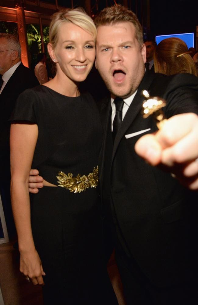 Julia Carey and James Corden attend the 2016 Vanity Fair Oscar Party. Picture: Kevin Mazur/VF16/WireImage