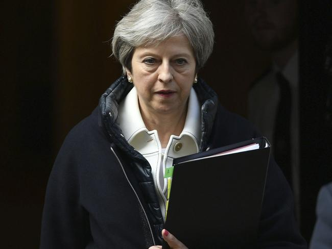 Britain's Prime Minister Theresa May leaves Downing Street to make a statement to MPs in the House of Commons in London, Monday April 16, 2018. Picture: AP