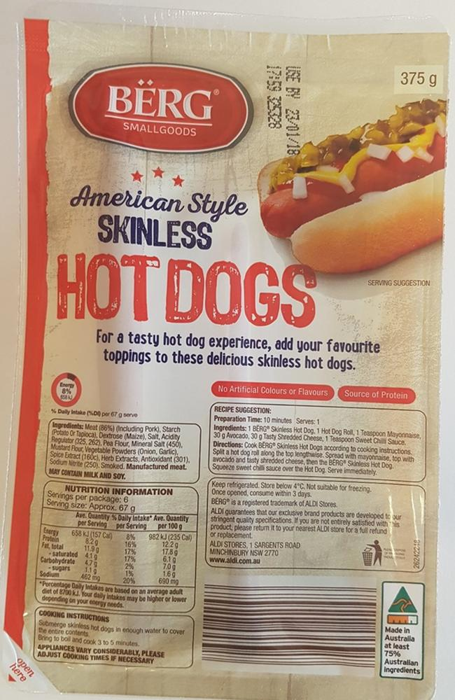 The Berg American Style skinless hotdogs have been recalled across Australia.