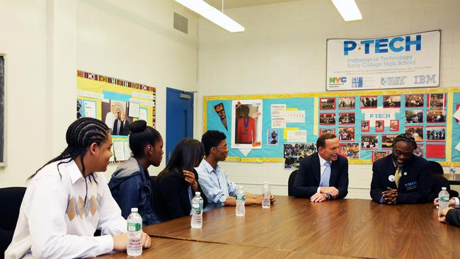 First hand visit ... Prime Minister Tony Abbott visits P-Tech High School in Brooklyn, New York City during his visit to the United States. Picture: News Corp Australia
