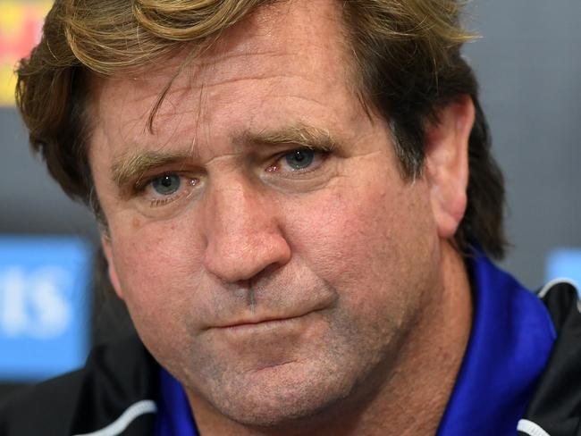 Bulldogs coach Des Hasler looks on during a press conference following the round 25 NRL match between the Gold Coast Titans and the Canterbury Bulldogs at Cbus Stadium on the Gold Coast, Saturday, August 26, 2017.  (AAP Image/Dave Hunt) NO ARCHIVING, EDITORIAL USE ONLY