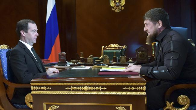 Russian Prime Minister Dmitry Medvedev, left, listens to Chechen regional leader Ramzan Kadyrov during a meeting in March this year. Picture: AP