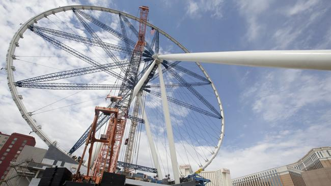 The final rim piece is added to the 55-story High Roller Ferris wheel under construction near the Las Vegas Strip. Picture: AP