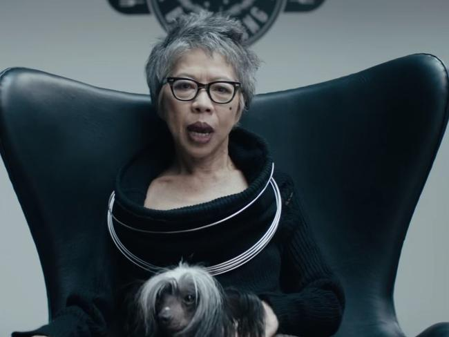 In the line of fire ... SBS newsreader Lee Lin Chin in the opening scene of the MLA ad.