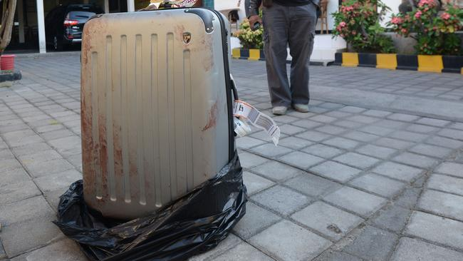 The suitcase containing the body of Sheila Von Wiese Mack was found on 12 August in the boot of a taxi. Picture: AFP.