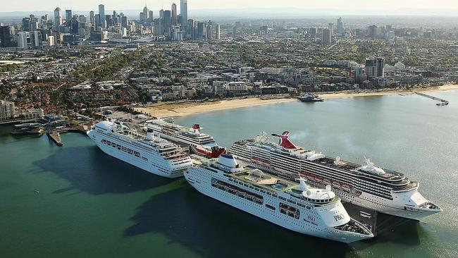 Ship to shore: P amp; O tour ships docked during Station Pier in Melbourne for a 2014 Melbourne Cup.