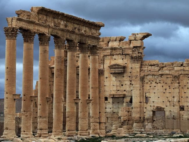 Wrecked by vandals ... ISIS jihadists have reportedly already blown up parts of the Temple of Baal. Picture: Joseph Eid/AFP