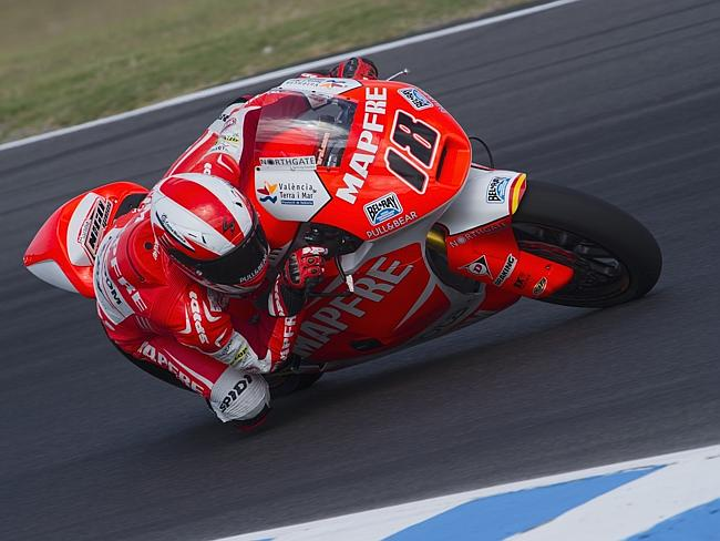 Nicolas Terol of Spain and the Mapfre Aspar Team Moto2 rounds the bend during the MotoGP testing.