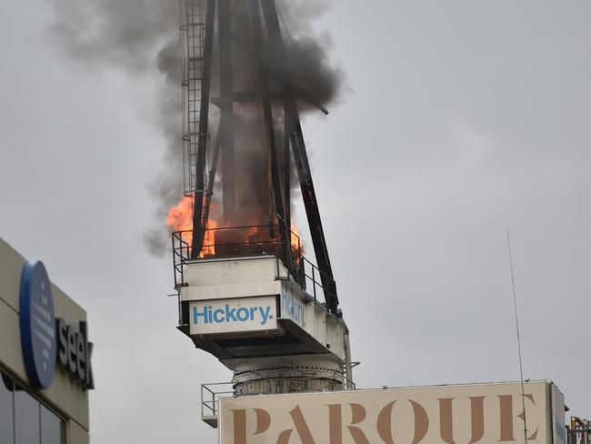 The crane ablaze. Picture: Jay Town