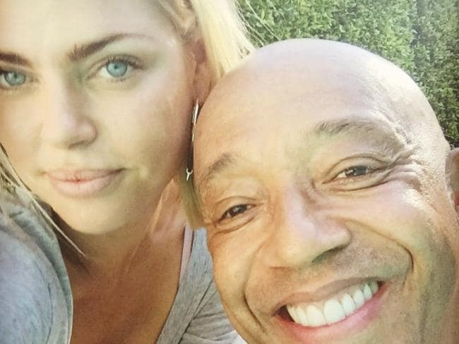 "Sophie Monk posted a picture of herself with Russell Simmons on Instagram with the caption, ""Just moguling by my long time friend's pool."""
