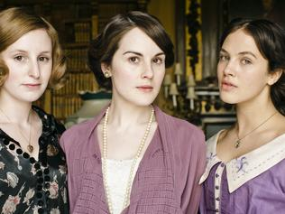 Downton Abbey. TV show. (L to R) Characters Edith (Laura Carmichael), Mary (Michelle Dockery) and Sybil Crawley (Jessica Brown Findlay).