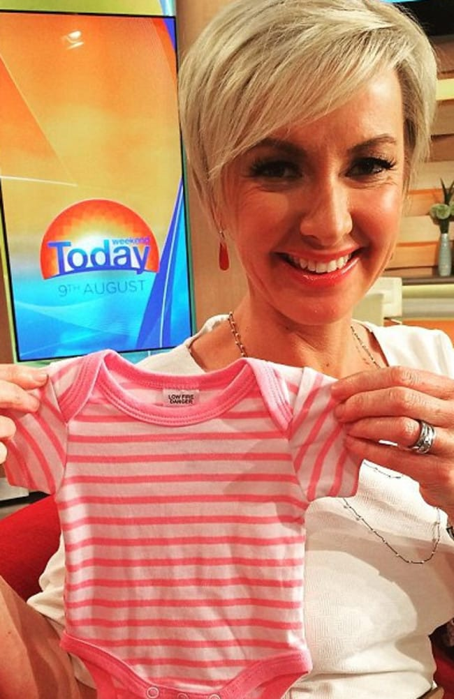Baby news ... Deborah Knight will farewell Weekend Today fans as she heads off on maternity leave after this Sunday's program. Picture: Supplied
