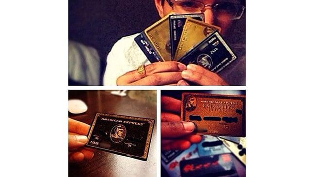 """Black & Gold credit cards. I'm the 1% B*tch""."