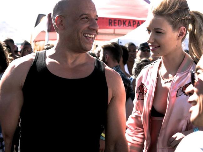 Acting debut ... Actor Vin Diesel with Australian rapper Iggy Azalea on the set of Fast and Furious 7. Picture; Facebook / Vin Diesel