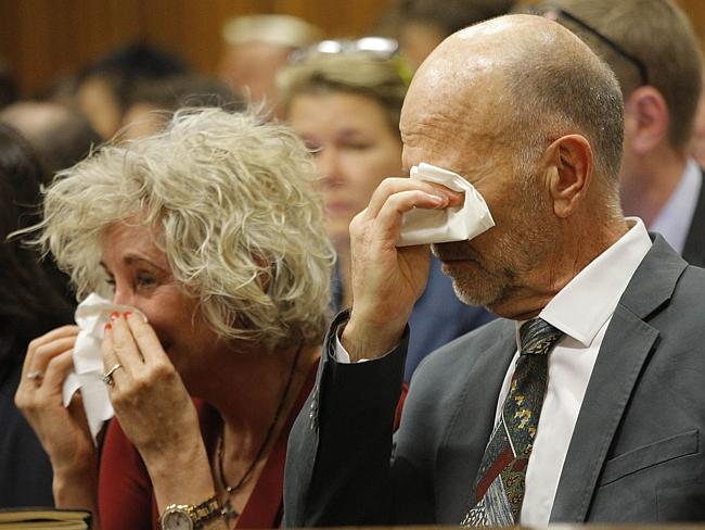 Grief ... Family members of Oscar Pistorius, including his uncle Arnold Pistorius, right, cry as they listen to his testimony in court. Picture: AFP