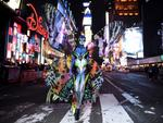 Madame Butterfly.. Heidi Klum poses in Time Square on October 31, 2014 in New York City ahead of her annual Halloween party. Picture: Getty