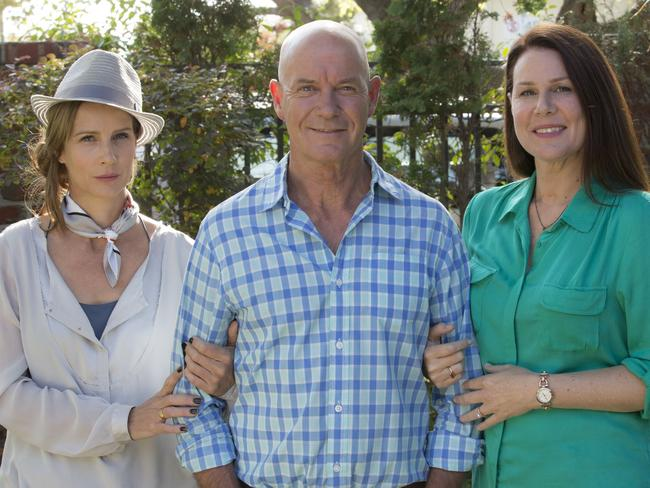 Rachel Griffiths, Gary Sweet and Gemma Crabb in  <i>House Husbands</i>.