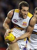 Western Bulldogs v West Coast Eagles. Etihad Stadium. Darren Glass clears from defence