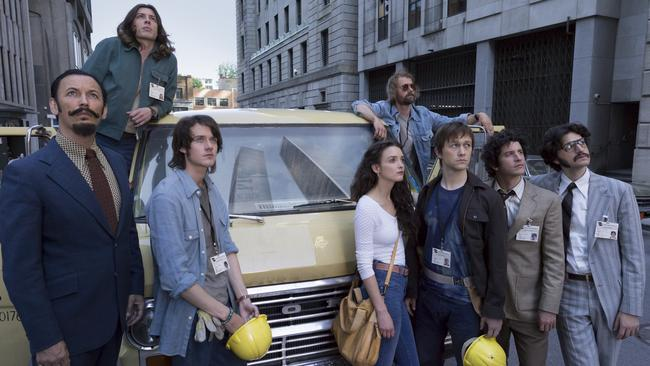 Film debut in Hollywood ... Benedict Samuel (second from left) steps into the big time with Joseph Gordon-Levitt (third from right) in new film The Walk.