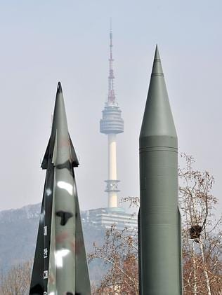 Missile threat... The replicas of North Korean Scud-B missiles, right, and a South Korean Nike missile at the Korean War Memorial in Seoul. Picture: Jung Yeon-Je/AFP