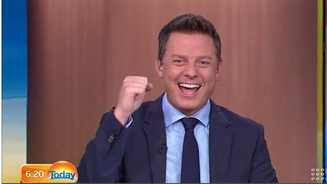 """Ben Fordham pumps his fists in what he described as """"the best day on Earth""""."""