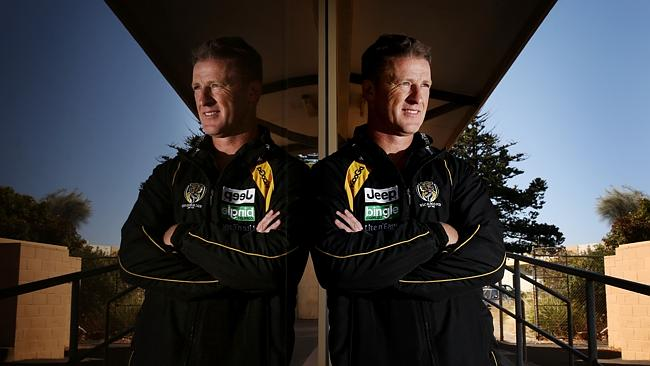 Richmond coach Damien Hardwick watches on at the Tigers' community camp.