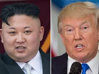 """(FILES) This file combination of pictures made on August 10, 2017 shows an image (L) taken on April 15, 2017 of North Korean leader Kim Jong-Un on a balcony of the Grand People's Study House following a military parade in Pyongyang and an image (R) taken on July 19, 2017 of US President Donald Trump speaking during the first meeting of the Presidential Advisory Commission on Election Integrity in Washington, DC. US President Donald Trump on August 16, 2017 praised North Korea's leader for backing off on plans to fire missiles toward the US Pacific territory of Guam. """"Kim Jong-Un of North Korea made a very wise and well reasoned decision. The alternative would have been both catastrophic and unacceptable!"""" Trump wrote on Twitter. / AFP PHOTO / SAUL LOEB AND Ed JONES"""